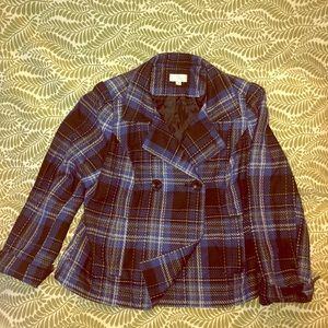 Studio Works Double Breasted Plaid Jacket.